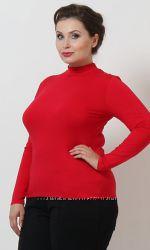 Водолазка женская большой размер. Гольф. Красный.