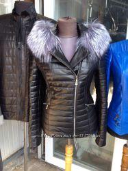 Утепленная кожаная куртка с мехом чернобурки