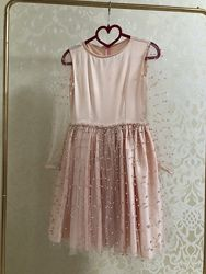 Платье розовое с жемчужинами