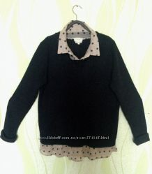 Свитшот свитер с рубашкой next l-xl