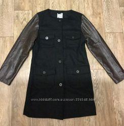 Пальто бойфренд Old Navy с натуральными кожаными рукавами
