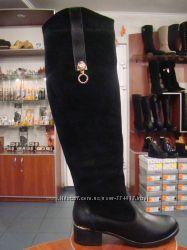 Комфортные зимние сапоги на удобном каблуке, черные и коричневые