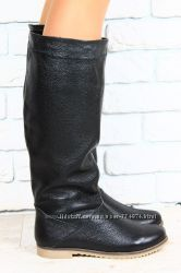 сапоги зимние женские бежевые кремовые кожаные низкий ход