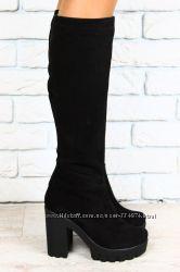 сапоги черные замшевые на толстом каблуке высокие