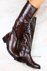 Сапоги кожаные крокодил на каждый день коричневые