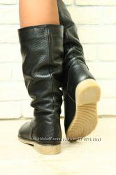 Сапоги зимние кожаные черные без каблука, без замка