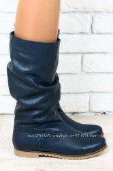 Сапоги зимние кожаные синие, коричневые, без каблука, без замка