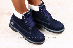 Ботинки Timberland синие, коричневые натуральный нубук