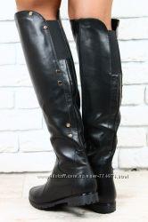 Сапоги черные кожаные евро зима без каблука