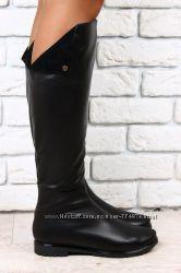 Сапоги черные кожаные евро зима без каблука с отворотом