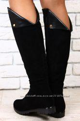 Сапоги черные, коричневые замшевые евро зима без каблука