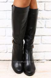 Сапоги черные кожаные евро зима на устойчивом, небольшом каблуке
