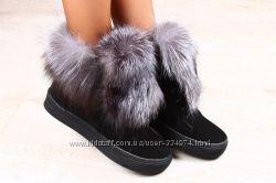 Ботинки зимние черные замшевые с натуральным мехом чернобурка
