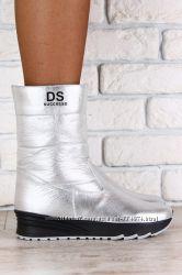 Зимние спортивные ботинки, на меху, кожаные, серебристые, бронзового цвета