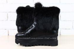 Ботинки зимние черные кожаные с натуральным мехом кролик
