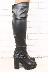 Ботфорты кожаные зимние черные, в евро зима, на тракторном каблуке