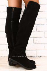 Зимние ботфорты женские черные замшевые, кожаные без каблука европейка