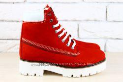 Ботинки красные, рыжие, синие Timberland зимние натуральный нубук на меху
