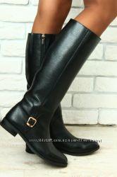 сапоги женские кожаные черные без каблука без замка на низком ходу