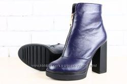 Осенние ботинки, синие с фиолетовым отливом, чёрные кожаные