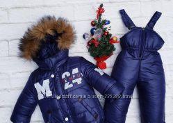 Тёплый зимний комбинезон для мальчика. Натуральная опушка