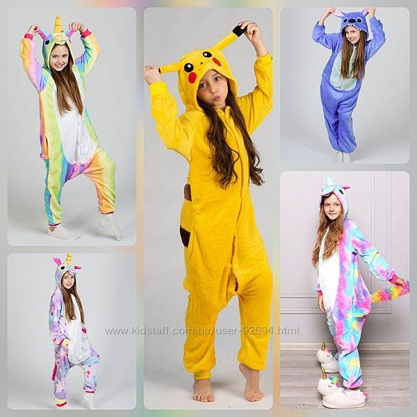 Детская пижама Стич, Пикачу, Единорог, кигуруми