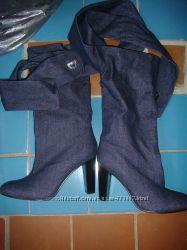 Сапожки стильные 25, 5 см 38-39 размер джинс-кожа