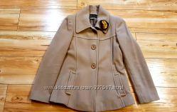 Пальто короткое бежевое шерсть