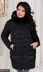 Пальто зимнее женское 858148 , наполнитель холлофайбер размеры 48-56