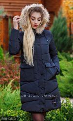 Куртка женская зимняя 858136, утеплитель холлофайбер, мех нат размеры 42-54
