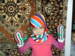 Шапка, снудик, рукавички. Яркий Зимний набор на 2-4года