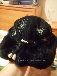 шапка эксклюзив из натурального меха и замши