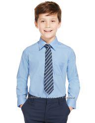 Рубашка Marks&Spencer голубая с длинным рукавом  8-9 лет