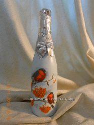 Оформление шампанского в стиле декупаж