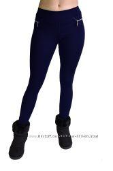 Леггинсы лосины брюки на флисе, 146 в наличии, очень красивый темно-синий цв