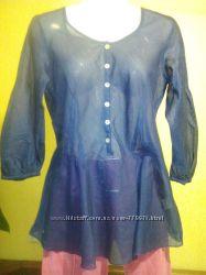 синяя батистовая блузка 44 р.