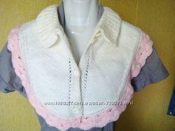 белая вязаная манишка шарф-воротник  для  девочки