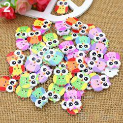 пуговицы декоративные  деревянные - совы, птички, сердечки, девочки