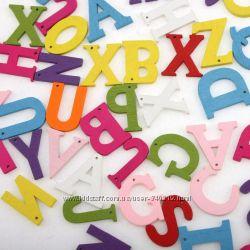 деревянные буквы- нашивки , английский алфавит