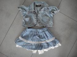 Комплект юбка-шорты болеро-жилет 90см