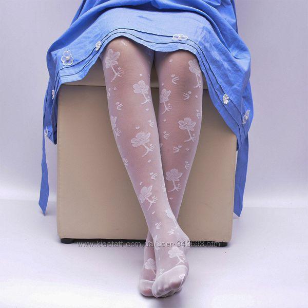 Капроновые белые колготки с розочками для ваших дочек - нарядные и красивые