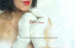 рукавички ручной работы с вышивкой и декором.