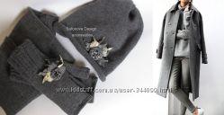 серый кашемировый комплект. шапка, снуд, митенки, 2 броши, swarovski