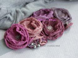 пояс с цветами в пастельных оттенках. пепел розы лаванда, сирень.