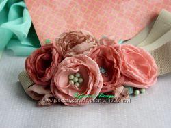 пояс с цветами. персиковый, нюдовый, мята