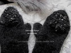 теплейшие варежки с вышивкой. swarovski итальянское кружево