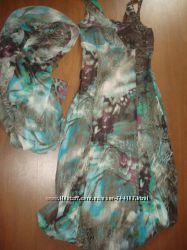 женственный сарафан, летнее платье с шарфиком