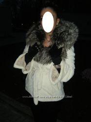белая норковая шуба, воротник- чернобурка
