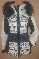 тёплый пуховик Snow Famie, натур. мех, принт олени, съёмный  мех и капюшон