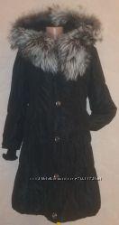 теплый женский пуховик, чернобурка, утеплитель- кроликсъёмный, капюшон